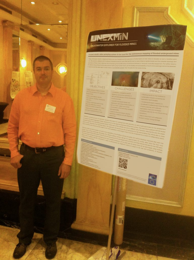 Norbert Zajzon, UNEXMIN project coordinator, presenting the poster in Brussels